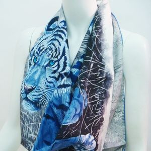 Hermes Scarf 100% Silk Tiger (Blue)